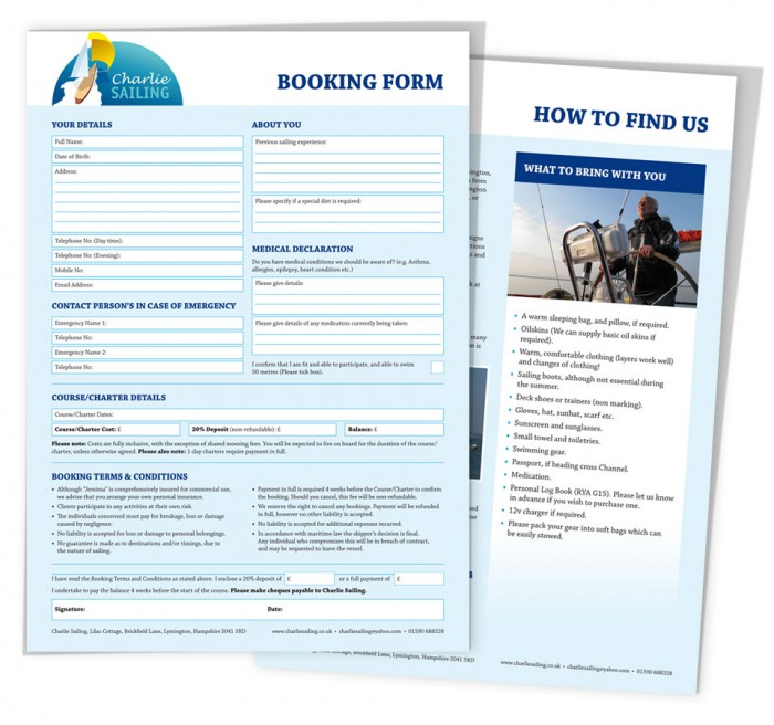 Charlie Sailing Booking Form